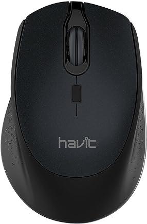 HAVIT Mini Mouse Ottico Portatile Wireless 2.4G 2000DPI con Ricevitore USB, 3 Livelli DPI Regolabili, 6 Pulsanti, per Notebook, PC, Laptop, Computer - Nero