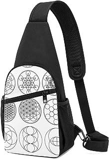 PGTry Circles Sacred Geometry Sling Bag - Mochila de hombro ligera para el pecho, bolsa cruzada para viajes, senderismo, p...