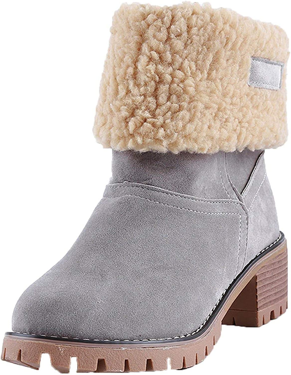 Wesex shoes Mid Heels Ankle Boots Footwear Plush Boots Black Green