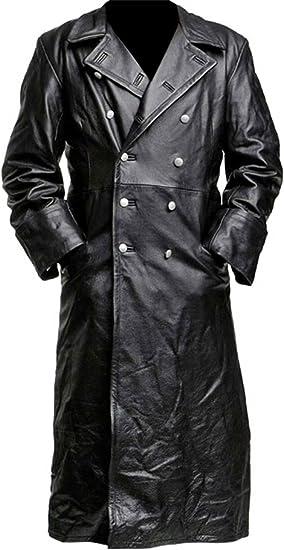 Cuero Negro Gabardina Militar Alemán Clásico Oficial