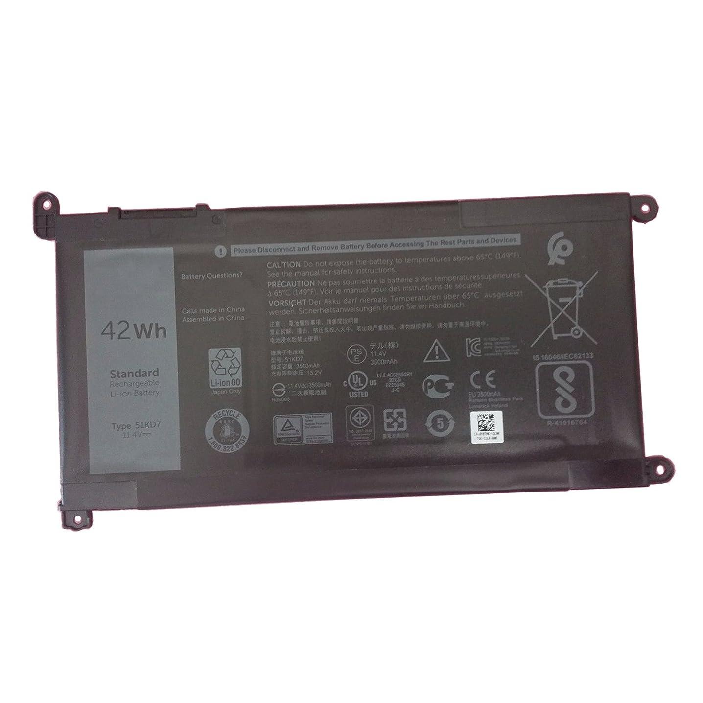 Dentsing New 51KD7 Battery for DELL Chromebook 11 3180 3189 Laptop 11.4V 42Wh Y07HK