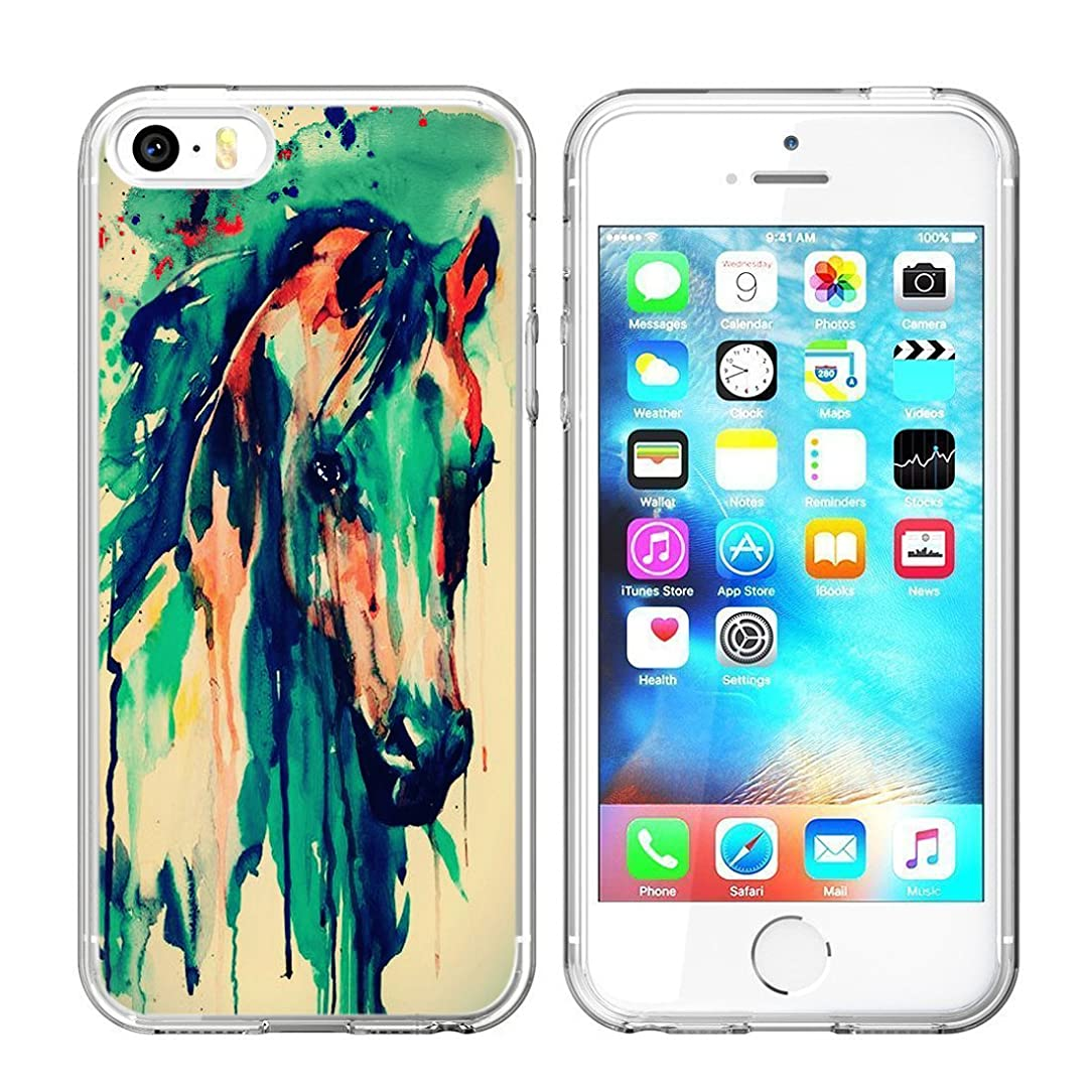 iPhone SE / 5S / 5 Case, Jolook 360 Full Body Protection Slim Case with Design for Apple iPhone SE / 5S / 5 - Printing Ink of Horse