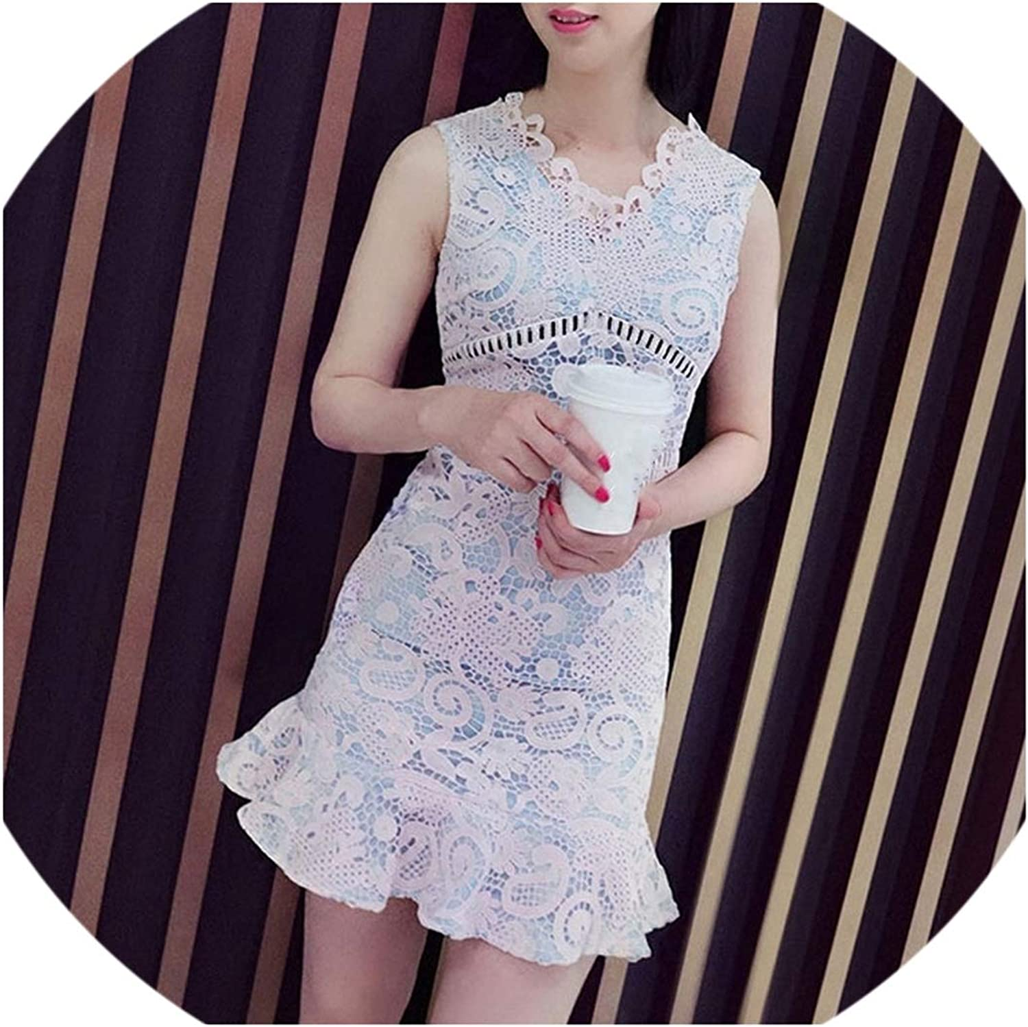 Spring Lace V Neck Hollow Out Fishtail Floral Summer Dress