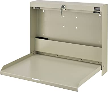"Wall Mounted Locking Writing Desk, 20""W x 3-3/8""D x 16-2/5""H, White"