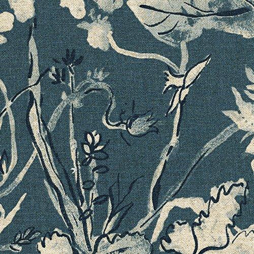 Best Prices! 15 Cal King Gathered Bedskirt Garden Party Indigo Floral Blue Cotton Linen