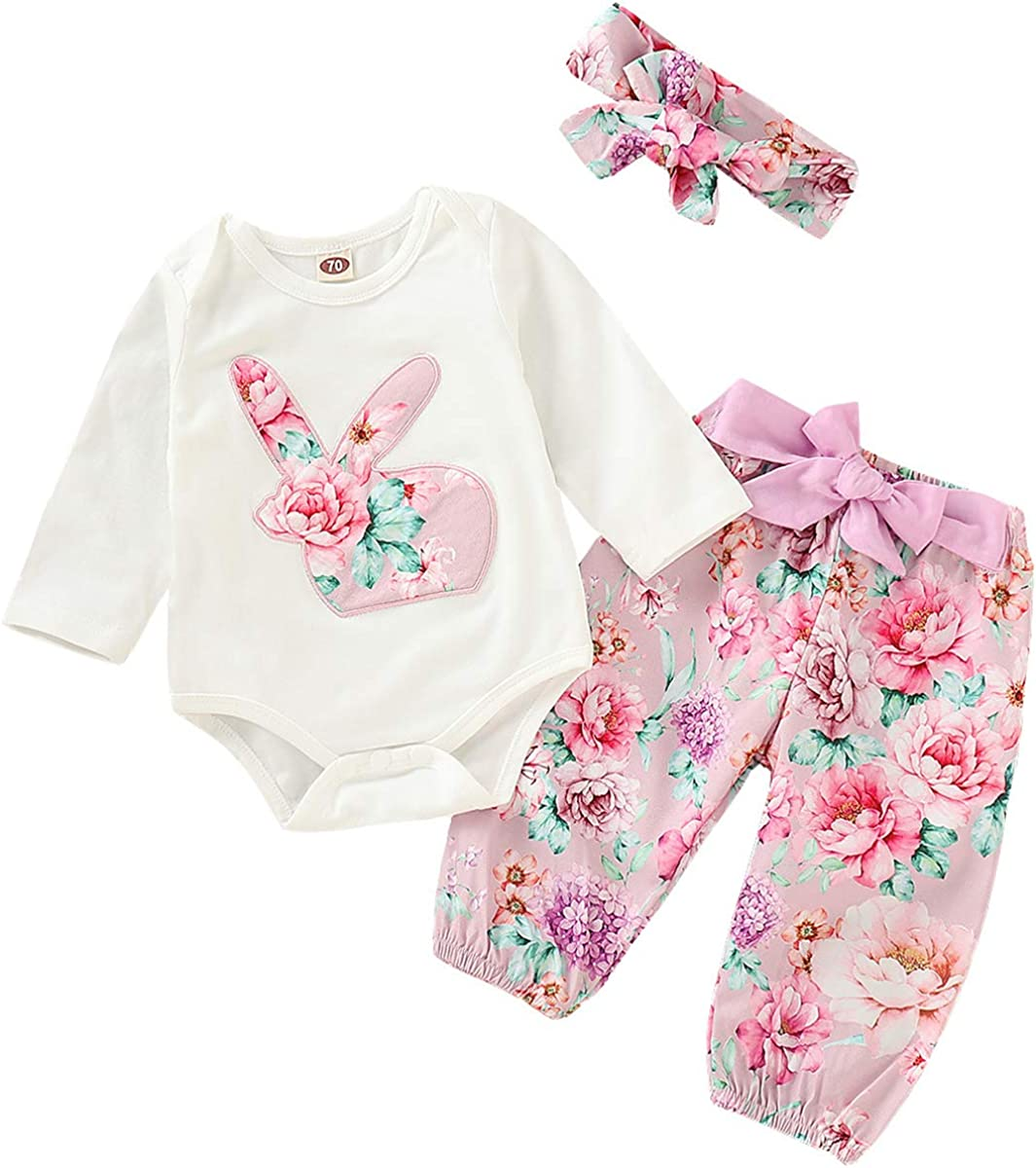 3PC Infant Baby Easter Day Rabbit Print Jumpsuit Romper+Pants+Headband Outfits