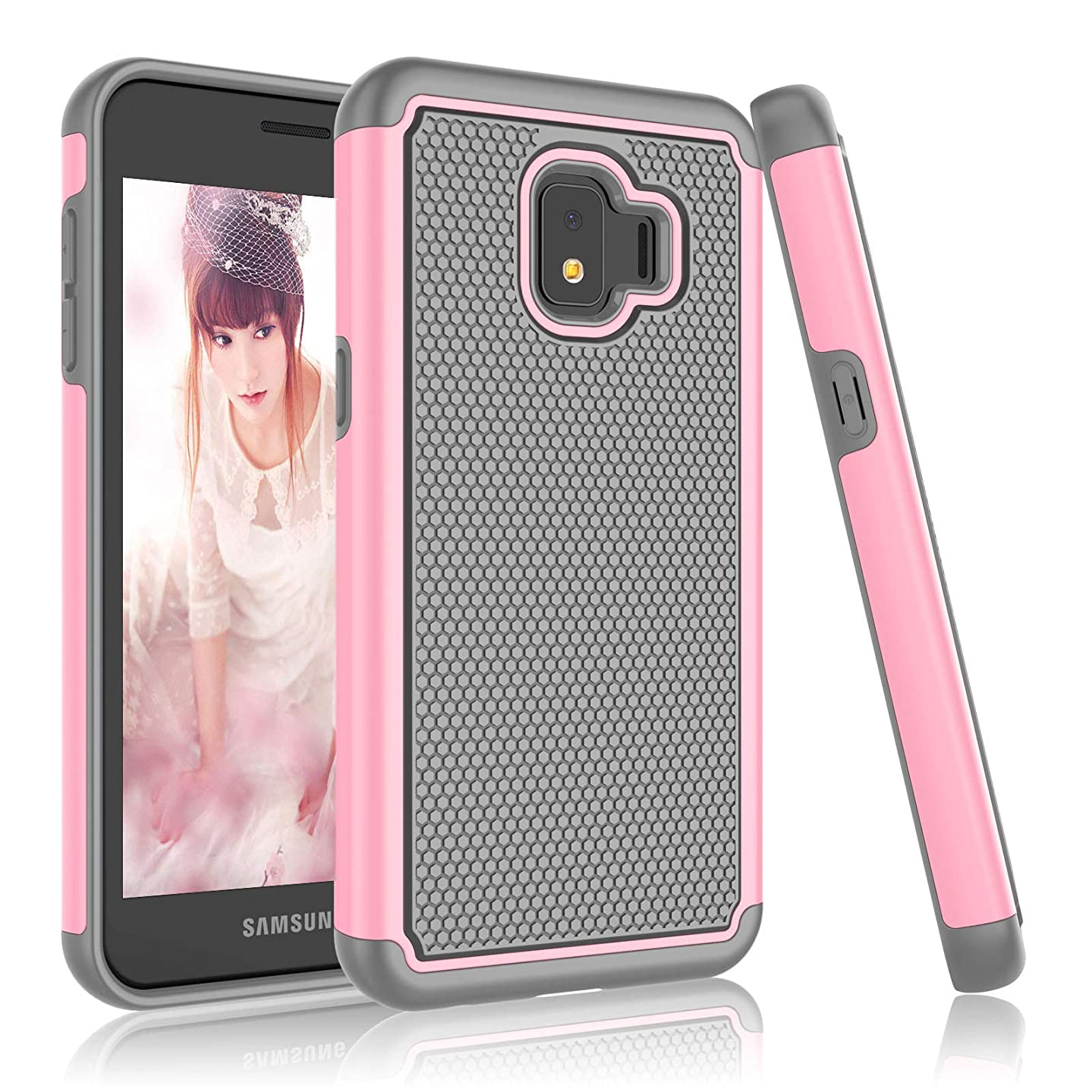 Njjex Galaxy J2 Core Case, for Galaxy J2 Dash / J2 Pure Case, [Nveins] Hybrid Dual Layers Hard Back + Soft Silicone Rubber Armor Defender Shockproof Phone Cover for Samsung Galaxy J2 Core [Baby Pink] wev592522096