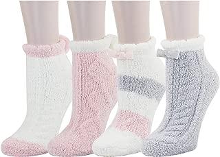 Women Girls Anti-Slip Fluffy Fuzzy Cute Animal Striped Warm Winter Slipper Socks