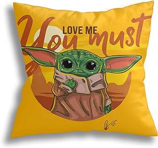 Baby Yoda Funda de almohada con estampado clásico Funda de cojín de algodón suave Poliéster Cuadrado Decorativo Fundas de almohada Cama Sofá Decoración para el hogar Regalo (18 '' x 18 '')