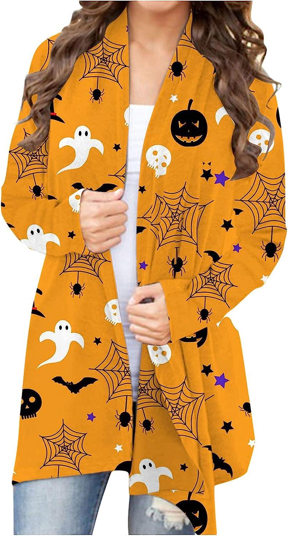 UOCUFY Womens Halloween Sweatshirts, Womens Crewneck Tops Casual Pumpkin Printed Costumes Sweaters Shirts Blouse
