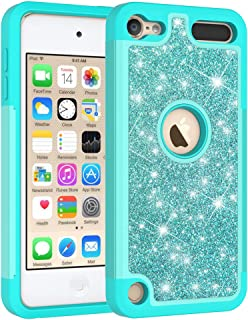 iPod Touch 6th Case, iPod Touch 7 Case - Cute Girls Women Design Defender Case Bling Glitter Sparkle Hard Shell Armor Hybrid Rubber Bumper Cover for Apple iPod Touch 5 6th, iPod Touch 7 - Mint Green