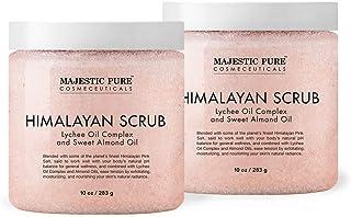 Majestic Pure Himalayan Salt Body Scrub with Lychee Oil, Exfoliating Salt Scrub to Exfoliate & Moisturize Skin, Deep Cleansing - 10 oz (Pack of 2)