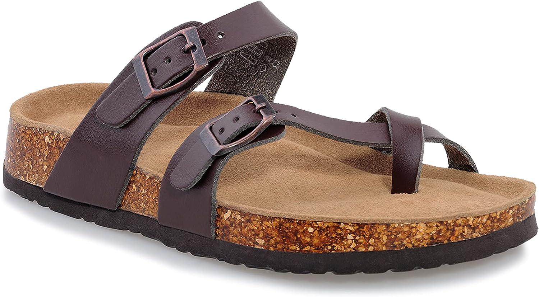 shoeslocker Womens Slides Sandals Open-Toe Flat Cork Footbed Sandals