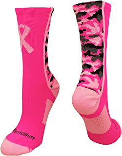 738ab2a98b3 MadSportsStuff Pink Ribbon Breast Cancer Awareness Camo Athletic Crew Socks  (Multiple Colors)