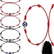 12 Pieces Evil Eyes 7 Knots Bracelets Adjustable Kabbalah String Bracelet with Flannel Bag for Protection Good Luck Women Men Favors