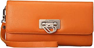 UScarmen Women's Flip Lock Calfskin Leather Wristlet Wallet