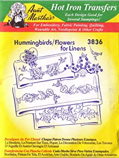Hummingbirds/Flowers for Linens Aunt Martha's Hot Iron Embroidery Transfer
