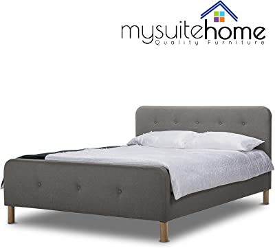 Brayden Dark Grey Fabric Queen Size Bed Frame