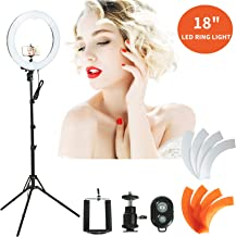 SUNCOO 18 Inch LED Ring Light Bluetooth Ringlight Kit 48cm Outer Dimmable Annular Light with Triple Light Stand, Filter for Camera Phone Beauty Lighting, Self-Portrait Video Shooting