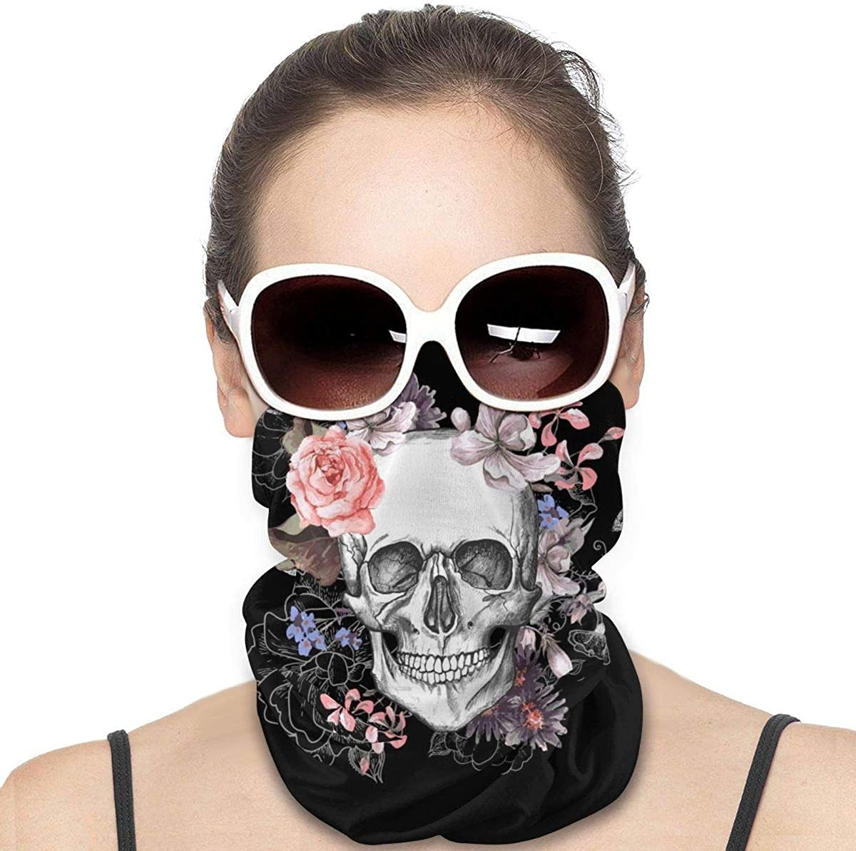 KiuLoam Women Bandanas Face Mask, Floral Sugar Skull on Black Neck Gaiter Mask Headband for Men Face Scarf Dust, Outdoors, Sports