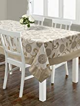 S9home 6 Seater Floral Beige Table Cover with Matching Border 60 x 90 inches