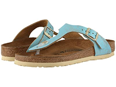 Birkenstock Gizeh Leather (Washed Metallic Aqua) Women