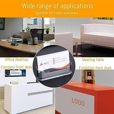 DMFLY Business Card Holder for Desk - 4 Pack Acrylic Business Card Holder Display Plastic Business Card Stand Desktop Busines