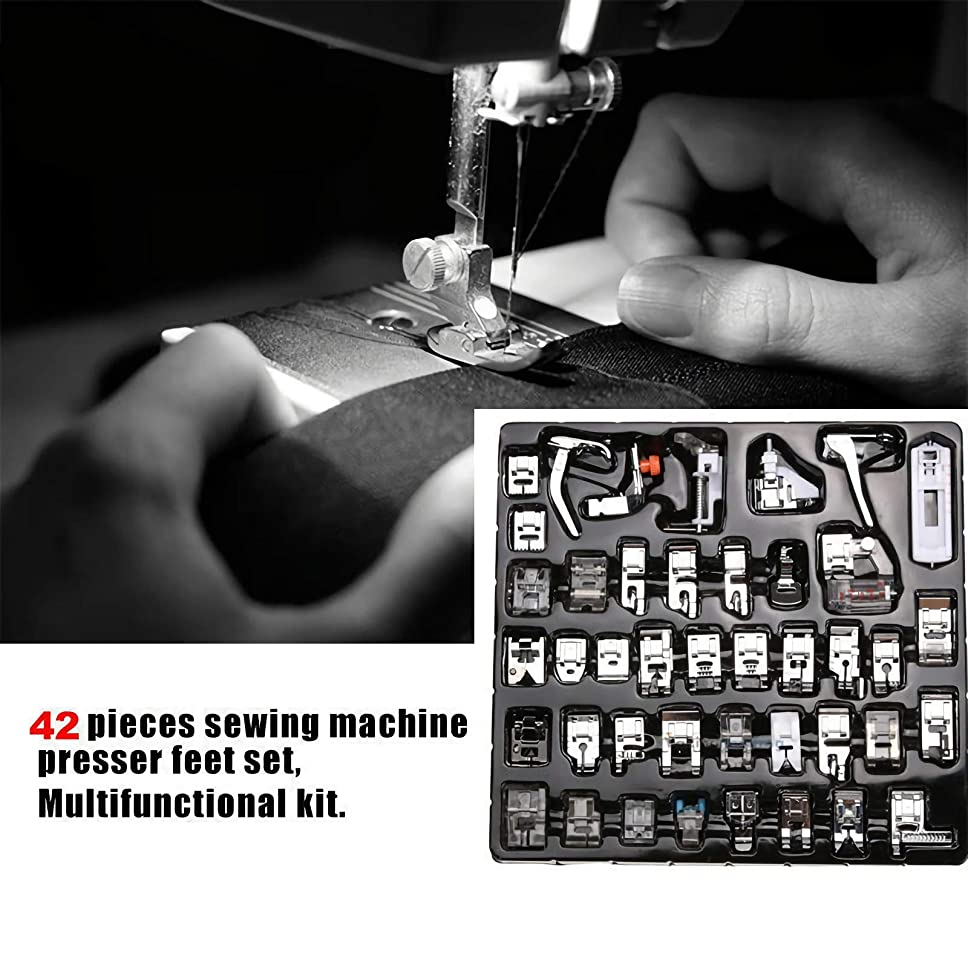 Dealpeak Sewing Machine Presser Feet Set Professional Domestic Presser Foot Set Sewing Foot for Brother, Babylock, Singer, Janome, Kenmore, Elna, Toyota, New Home, Simplicity, Necchi (42 pcs)