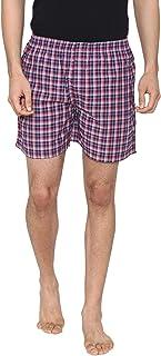 Men Classic Check - Prints Woven Boxer Shorts - Dark Navy