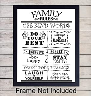 Family Rules Wall Art Print Typography - 8x10 Unframed Photo - Makes a Great Gift - Chic Home Decor
