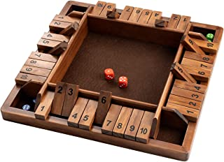 ROPODA 14 Inches 4-Way Shut The Box Dice Board Game (2-4 Players) for Kids & Adults [4 Sided Large Wooden Board Game, 8 Dice + Shut-The-Box Rules] Smart Game for Learning Addition – Vantage Style