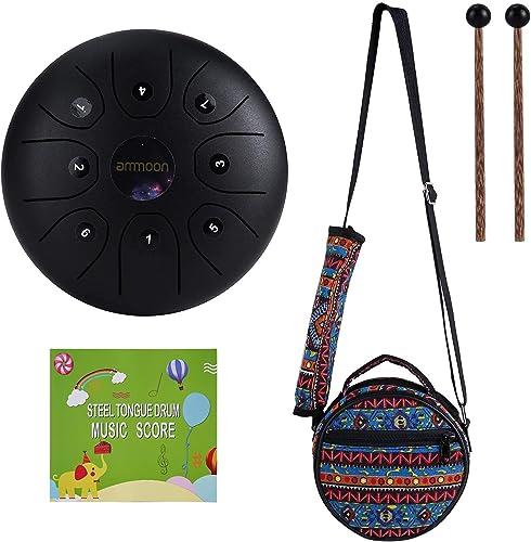 Tambor de Lengua de Acero, ammoon 5.5 Pulgadas Tongue Drum Un Regalo Especial de Instrumentos Musicales, Tratamiento ...