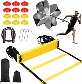 مجموعه آموزش SKL Speed Agility ، شامل چتر نجات با سرعت دویدن ، نردبان چابکی قابل تنظیم ، 12 مخروط دیسک ، طناب پرش با کیسه حمل برای تمرین فوتبال بسکتبال هاکی لاکراس فوتبال