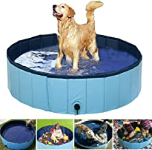 Syolee Dog Paddling Pool Foldable Pet Cat Swimming Pool Collapsible Puppy Bathing Tub Kid Children Water Pond