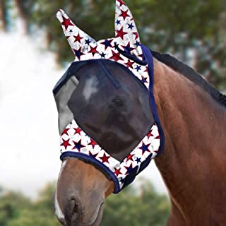Harrison Howard CareMaster Horse Fly Mask Standard with Ears UV Protection for Horse-Dream Star(L; Full Size)