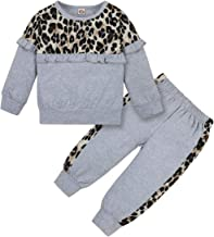DISAUR Toddler Girl Clothes Cute Leopard Ruffle Sweater Infant Girl Clothes Outfits Long Sleeve Tops Pants Set
