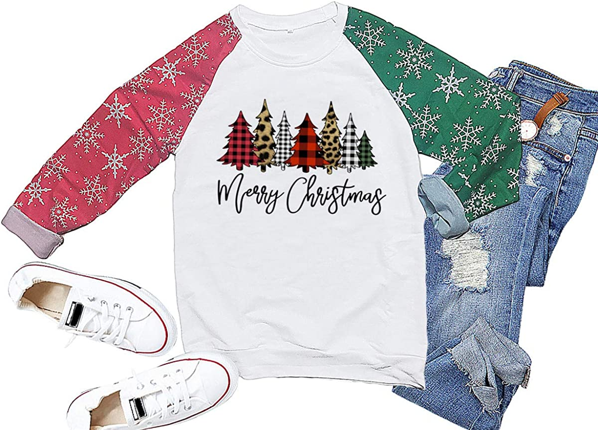 Christmas Sweatshirts for Women Cute Snow Print Long Sleeve Pullover Clothes