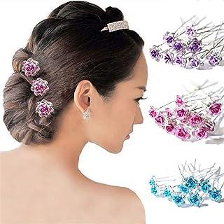 20Pcs Wedding Bridal Clear Crystal Rhinestone Rose Flower Hair Clips Accessories Jewelry Barrettes Headwear