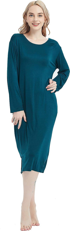 AMOY MADROLA Women's Nightgowns Modal Long Sleeve Night Shirts