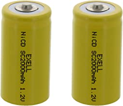 2x Exell SubC 1.2V 2000mAh NiCD Button Top Rechargeable Batteries for high power static applications (Telecoms, UPS and Smart grid), electric mopeds, meters, radios, RC devices, electric tools