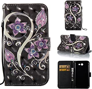For Samsung Galaxy J7 V Case Wallet/J7 2017/J7 Prime/J7 Sky Pro/J7 Perx/Galaxy Halo,Voanice PU Leather Flip Protective Phone Case Women Men Cover with Card Slots Stand (Purple Flower)