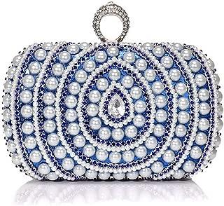 Long Pearl Ladies Clutch Bag, European and American Fashion Banquet Bag, Buckle Safety High-Grade Ladies Clutch Bag, Ladies Luxury Dress Evening Bag (16 * 5 * 10Cm),Blue