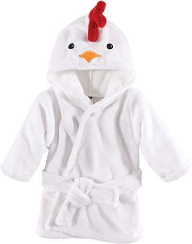 Hudson Baby Unisex Baby Plush Animal Face Robe, Chicken, One Size, 0-9 Months