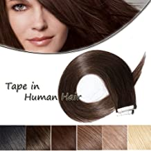 24inch Tape In Hair Extensions Human Hair Dark Brown #2 Long Straight Seamless Skin Weft Hair Invisible Double Sided Tape 20pcs 50g+10pcs Replacement Tapes