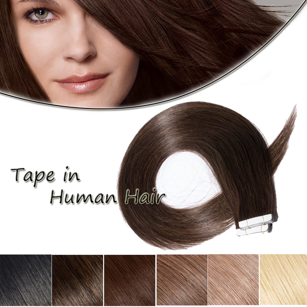 Tape In Human Hair Extensions Dark 20inch Si #2 セール 特集 Double 50g Brown 今だけスーパーセール限定