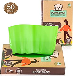 Doodie Flush Dog Poop Bag (Box of 50 Poop Bags for Dogs) Flushable 100% Environmentally Friendly Compostable Biodegradable Pet Waste Bags, Extra Thick & Strong, Perfect for Condo, Home, or Apartments