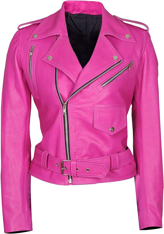 III-Fashions Women's Max 79% OFF Hot Pink Biker Alba Cheap mail order shopping Jessica Brando Motorcyc