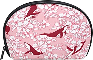 ALAZA Whale Floral Half Moon Cosmetic Makeup Toiletry Bag Pouch Travel Handy Purse Organizer Bag for Women Girls