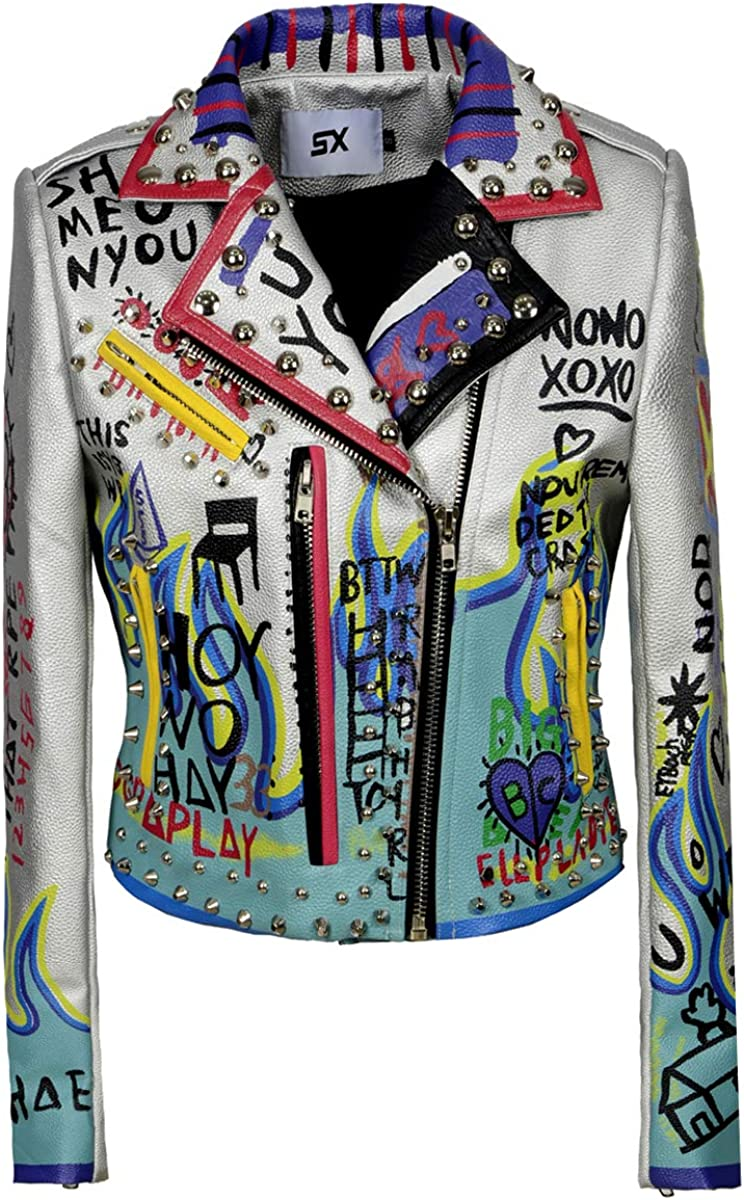 Women's Print Faux Leather Studded Graffiti Look Punk Biker Moto Jacket with Patches
