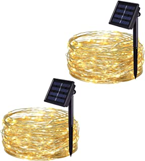 JMEXSUSS 200 LED 65.5ft 2 Pack 8 Modes Solar Powered Waterproof Fairy String Copper Wire Lights for, Bedroom, Patio, Wedding, Party, Christmas (Warm White 200LED)